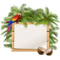Vector Wooden Frame with Palm Tree Royalty Free Stock Photo