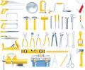 Vector woodworker tools icon set Stock Photo