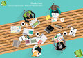 Vector work space for business meetings and brainstorming analysis plan concept and web banners print media mobile technology Stock Image