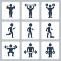 Vector workout sport icons set Royalty Free Stock Photos