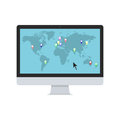 Vector world map with map pointers on the PC monitor. Royalty Free Stock Photo