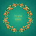 Vector wreath illustration of traditional folk russian floral old ornament named khokhloma on green background Royalty Free Stock Photo