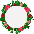 Vector wreath of leaves and pink flowers