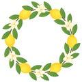 Vector Wreath with Lemons and Flowers. Lemon Vector Illustration.