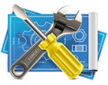 Vector wrench and screwdriver on blueprint XXL ico Stock Photo