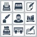 Vector writer icons set Royalty Free Stock Photo