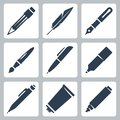 Vector writing and painting tools icons set pencil feather fountain pen brush pen marker mechanical pencil tube of paint Royalty Free Stock Photo