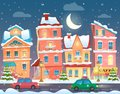 Vector Xmas card with a decorated snowy old city town at Christmas eve in night. Royalty Free Stock Photo