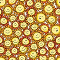 Vector yellow hand drawn sunflower cartoon repeat pattern. Suitable for gift wrap, textile and wallpaper