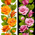 Vector yellow and pink rose vertical seamless patt pattern isolated on background Royalty Free Stock Images