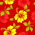 Vector yellow and red tropical summer hawaiian seamless pattern with tropical hibiscus flowers