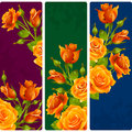 Vector yellow Rose frames. Set of floral vertical banners Royalty Free Stock Photo