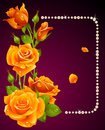 Vector yellow rose and pearls frame Stock Photos