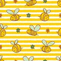 Vector yellow stripes cute bees and flowers repeat pattern. Suitable for gift wrap, textile and wallpaper