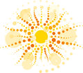 Vector yellow sun rays made ​​from circles Stock Photography