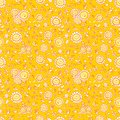 Vector yellow sunflowers and bees repeat pattern texture with orange outlines. Suitable for gift wrap, textile and wallpaper