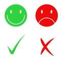 Vector Yes and No check symbol marks Royalty Free Stock Photo