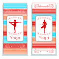 Vector yoga illustration. Yoga posters with floral ornament and yogi silhouette. Identity design for yoga studio, yoga center, cla Royalty Free Stock Photo