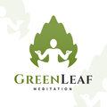 Vector yoga leaf logo concept. Harmony insignia design. Wellness center illustration