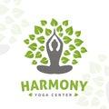 Vector yoga tree logo concept. Harmony insignia design. Wellness center illustration.