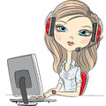 Vector young beautiful girl telephone operator Royalty Free Stock Photo