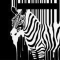 Vector zebra silhouette with smudges barcode Royalty Free Stock Images