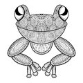 Vector zentangle frog for adult anti stress coloring page. Hand Royalty Free Stock Photo