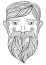 Vector zentangle Portrait of bearder Man with mustache for adult