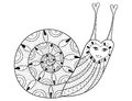 Vector zentangle Snail for adult coloring pages, art therapy
