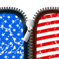 Vector Zipper with American Flag Royalty Free Stock Photo
