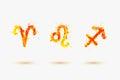 Vector zodiac. Fire element. Aries, Leo, Sagittarius.