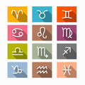Vector zodiac horoscope symbols rectangle in retro colors Stock Photos