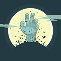 Vector zombie hand rising from the grave illustration of halloween theme Royalty Free Stock Images