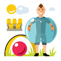 Vector Zorbing soccer. Bumper Ball. Inflatable Zorb. Outdoor Sport game. Flat style colorful Cartoon illustration.