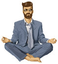 Vectorhipster mens in lotus pose Stock Afbeeldingen