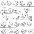 Vectorreeks van lijn art cartoon birds Stock Foto