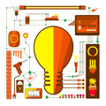 Vectors element and electric light bulb Royalty Free Stock Photo