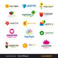 Vectors icons flower logo set Stock Image