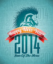Vectorvector happy new year design with horse and ribbon vector on typographic background Stock Photos