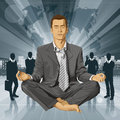 Vectorzakenman in lotus pose meditating Stock Afbeelding