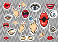 Vectpr fashion stickers eyes, lips and hands
