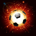 Vectro illustration of a soccer ball explosion vector on red background Stock Image