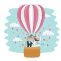 Vedding couple in hot air balloon