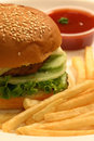 Veg burger a veggie is a vegetarian alternative to a hamburger the patty of a veggie can be made from vegetables Stock Photos
