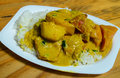 Veg korma and rice meal served for main course Stock Photos
