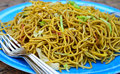 Veg noodles indian vegetable indo chinese snack prepared from and vegetables Stock Photos