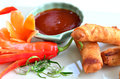 Veg spring rolls white plate Stock Photos