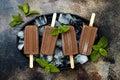 Vegan banana chocolate mint fudge popsicles. Homemade creamy dairy free ice pops, nicecream, fudgesicles.