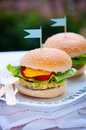 Vegan burgers all served on plate at party Royalty Free Stock Images