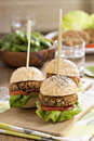 Vegan burgers with beans and vegetables Stock Photos